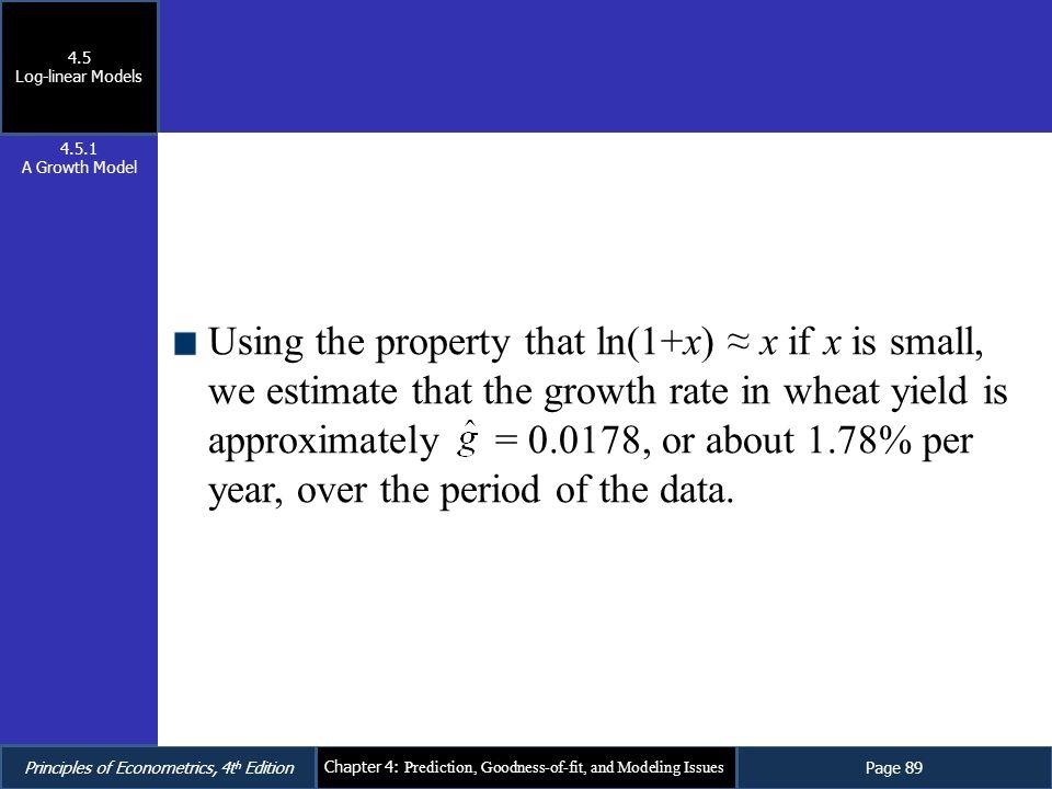 4.5 Log-linear Models. 4.5.1. A Growth Model.