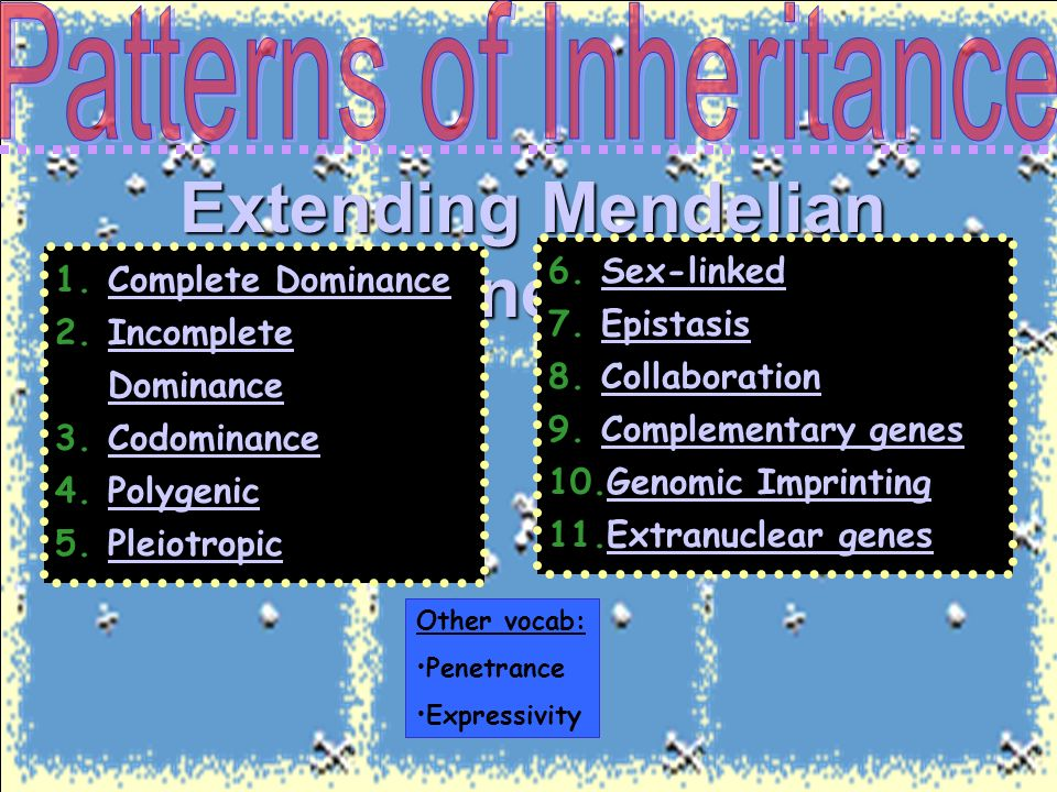 extension of mendelian inheritance 83 extensions of the laws of inheritance (note that different genotypic abbreviations are used for mendelian extensions to distinguish these patterns from.