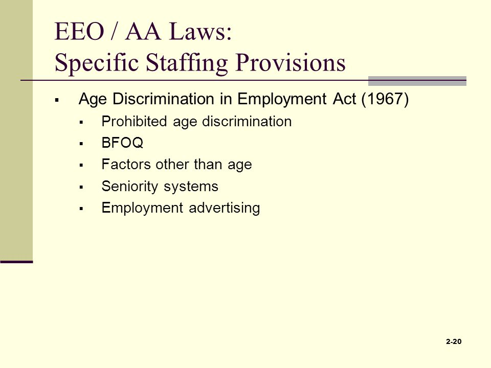 eeo unlawful discrimination Eeoc publications eeo is the law poster the law requires an employer to post notices describing the federal laws prohibiting job discrimination based on race, color, sex, national origin, religion, age, equal pay, disability and genetic information.