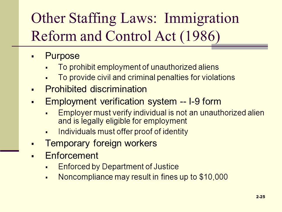 the immigration reform and control act of 1986 essay We would like to show you a description here but the site won't allow us.