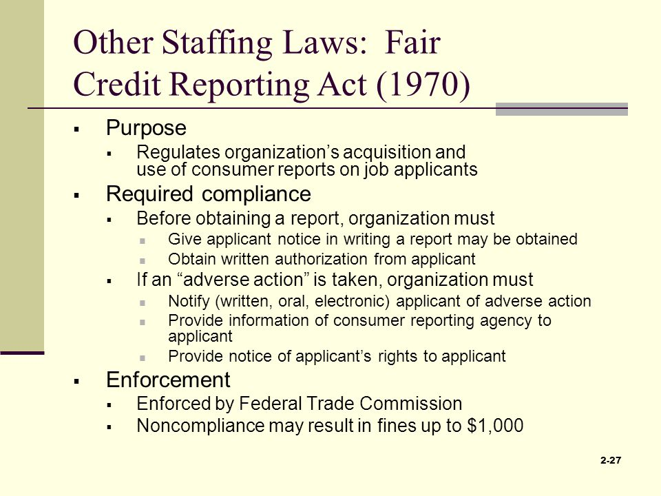 the fair credit reporting act 1970 Aid 500-4 (fair credit reporting act of 1970, as amended) aid 500-4 (fair credit reporting act of 1970, as amended.