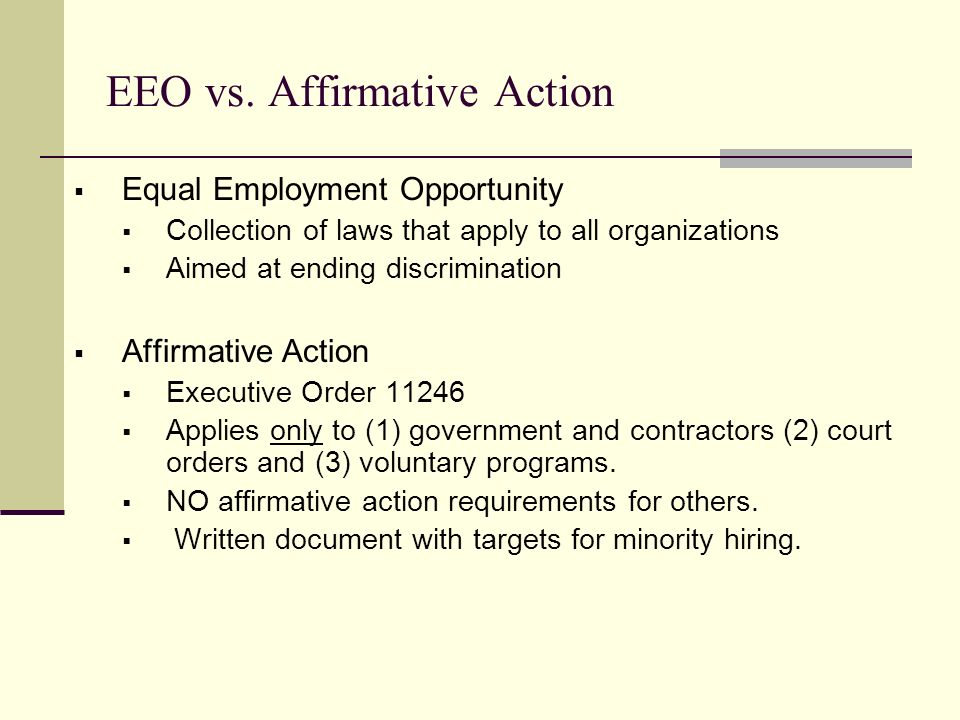 affirmative action vs equal opportunity Ask a question call ofccp's toll free help line 1-800-397-6251 (tty 1-877-889-5627) division of policy, regulations line (202) 693-0103.
