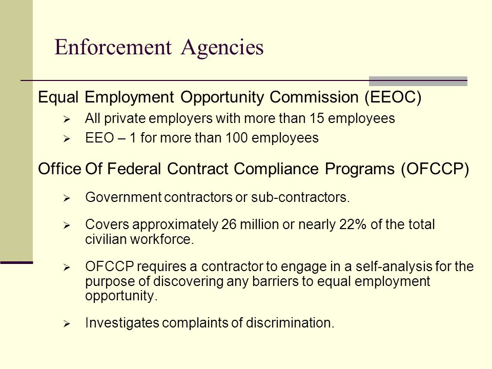 office of federal contract compliance programs essay The us department of labor, office of federal contract compliance programs ( ofccp) evaluates federal contractors' compliance with federal equal.