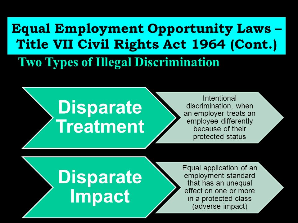 equal employment opportunity and employee rights Title vii of the civil rights act of 1964, the age discrimination in employment act  (adea) of 1967  in their work plans covering equal employment opportunity.