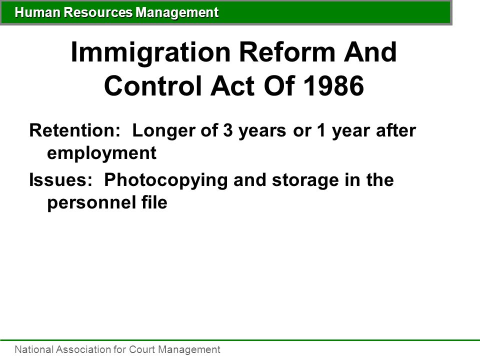 the immigration reform and control act of 1986 essay The united states immigration reform and control act of 1986 (act) signalled the beginning of a new era for united states immigra- tion law 1 the first major revision of the nation's immigration policy in.