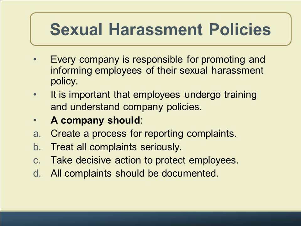 Employment sexual harassment policies