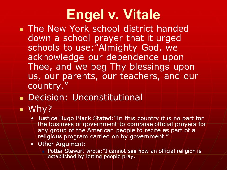 an argument in favor of prayer in american schools Prayer was a common practice in colonial american schools,  the supreme court first ruled against public school prayer in the 1962 case of engle v vitale.