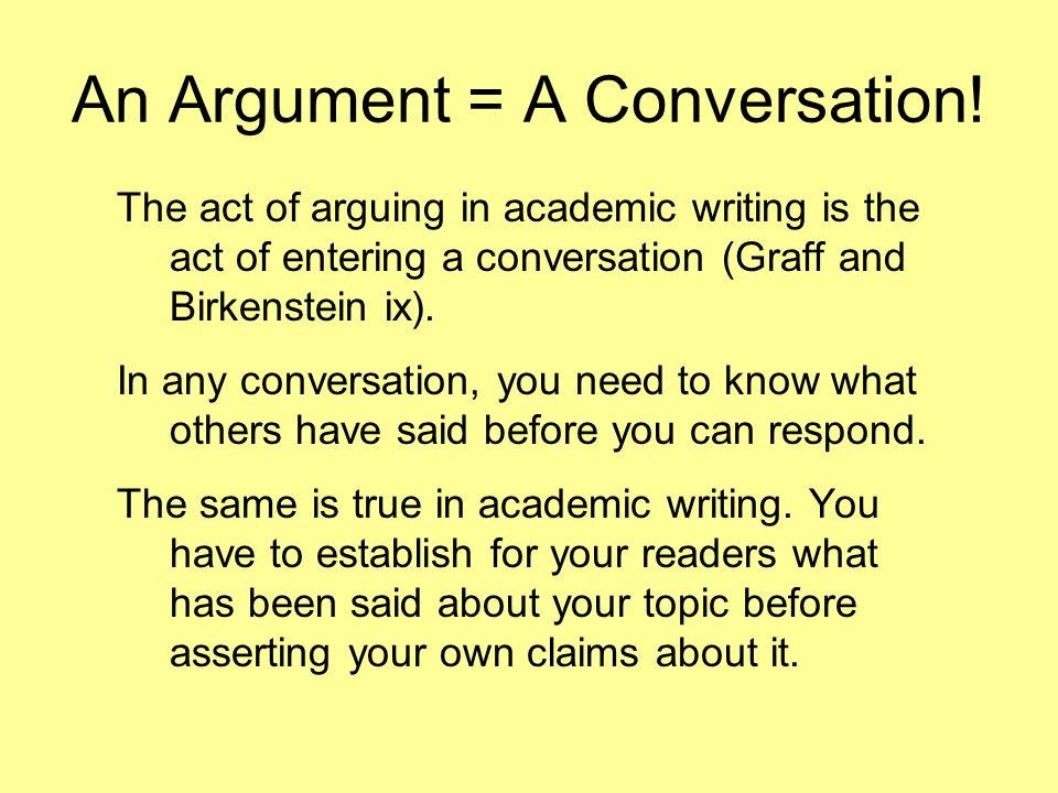 academic argument Features of academic writing introduction try thisexercise academic writing in english is linear, which means it has one central point or theme with every part contributing to the main line of argument, without digressions or repetitions.