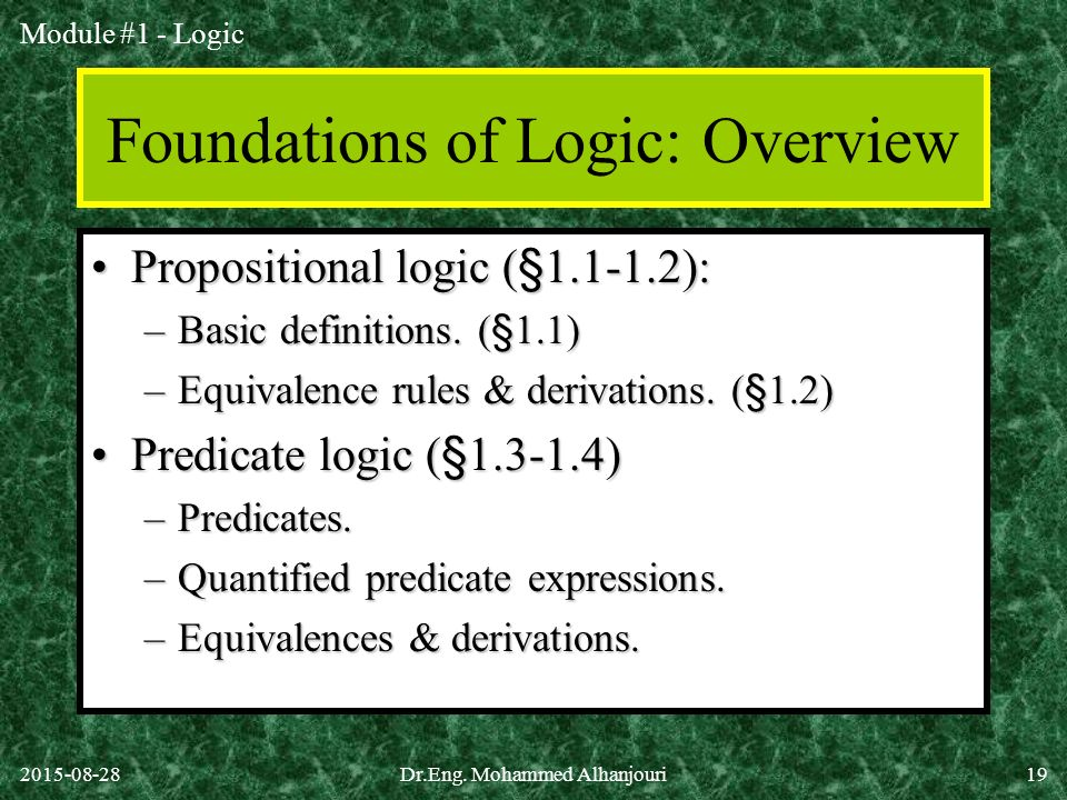 Foundations of Logic: Overview