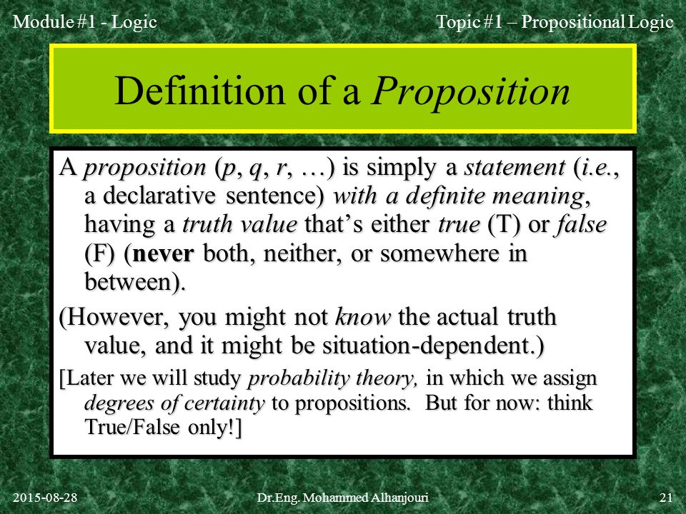 Definition of a Proposition