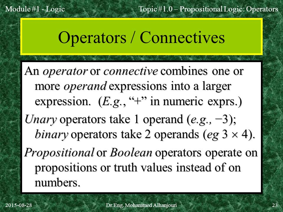 Operators / Connectives