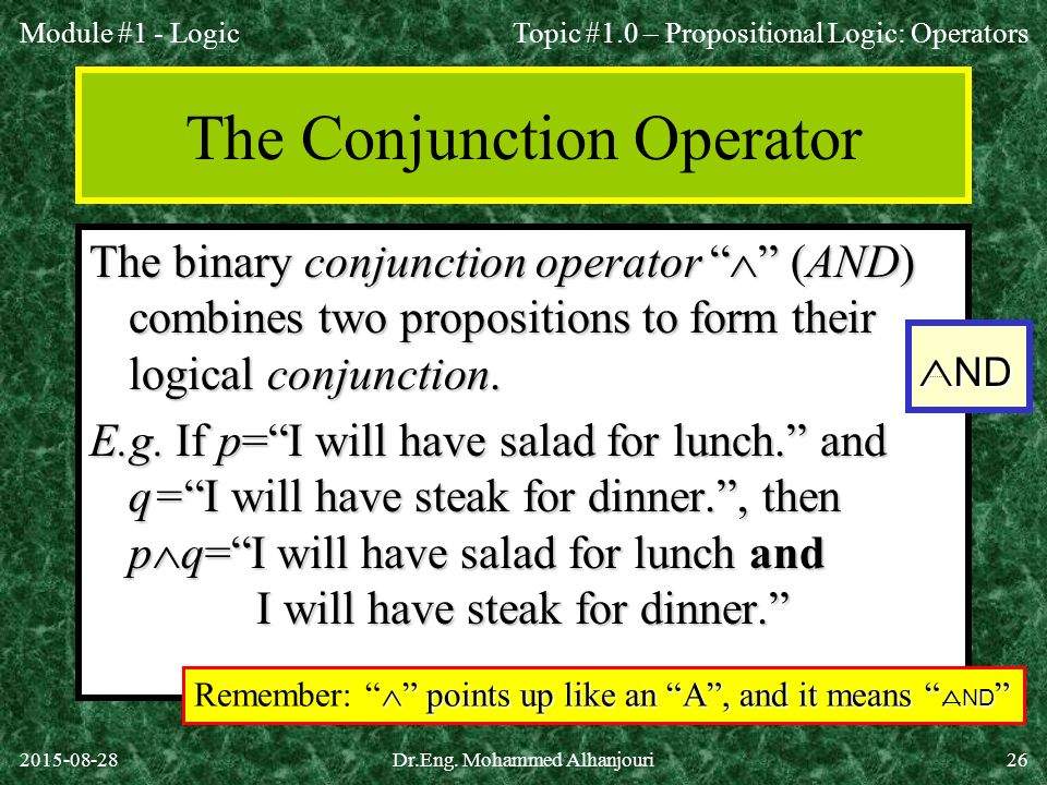 The Conjunction Operator
