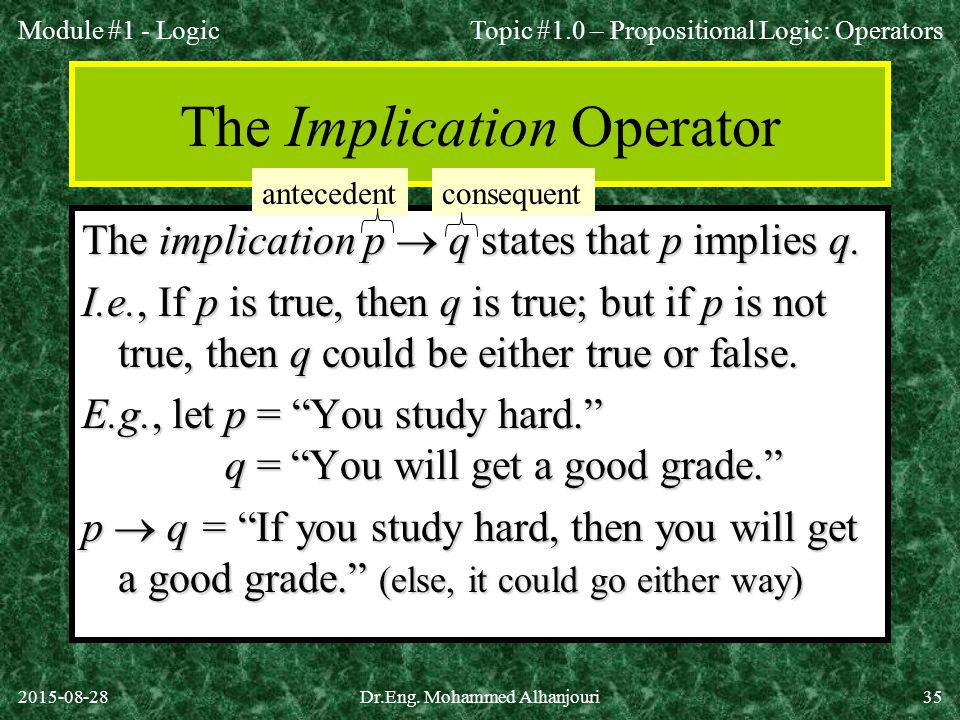 The Implication Operator