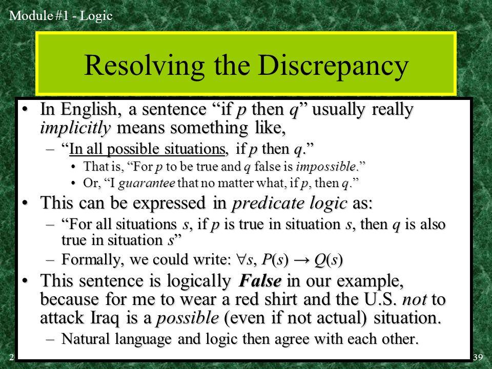 Resolving the Discrepancy