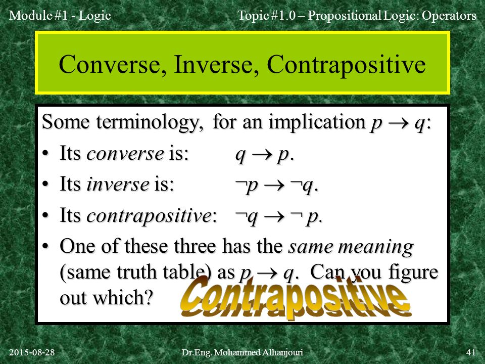 Converse, Inverse, Contrapositive