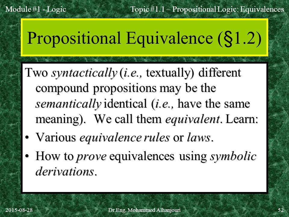 Propositional Equivalence (§1.2)