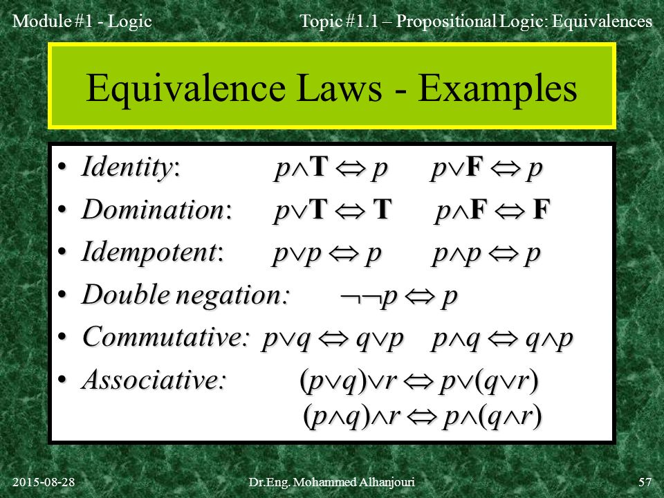 Equivalence Laws - Examples