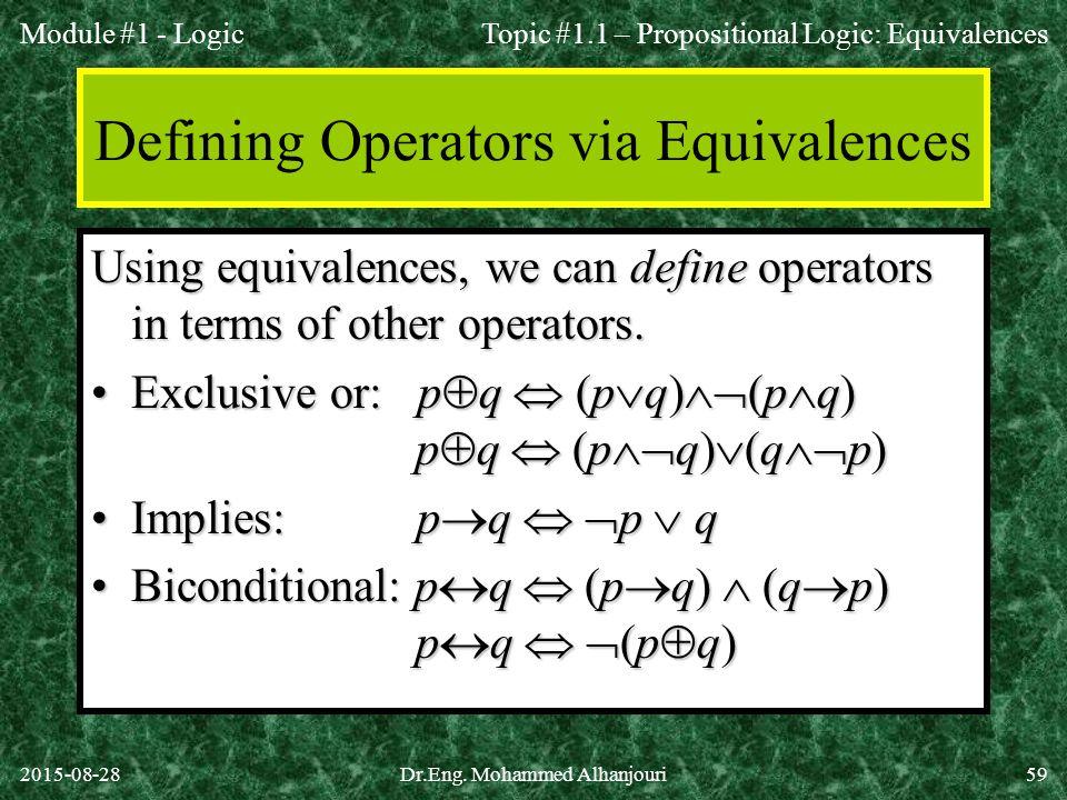 Defining Operators via Equivalences