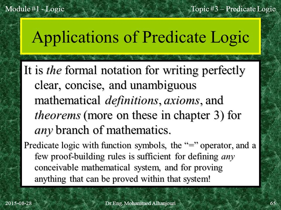 Applications of Predicate Logic