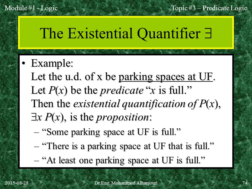 The Existential Quantifier 