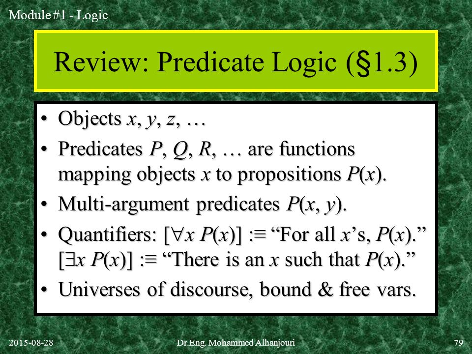 Review: Predicate Logic (§1.3)