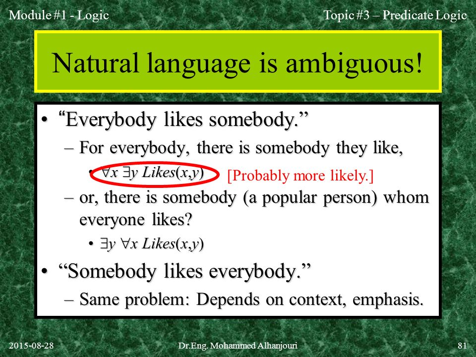 Natural language is ambiguous!