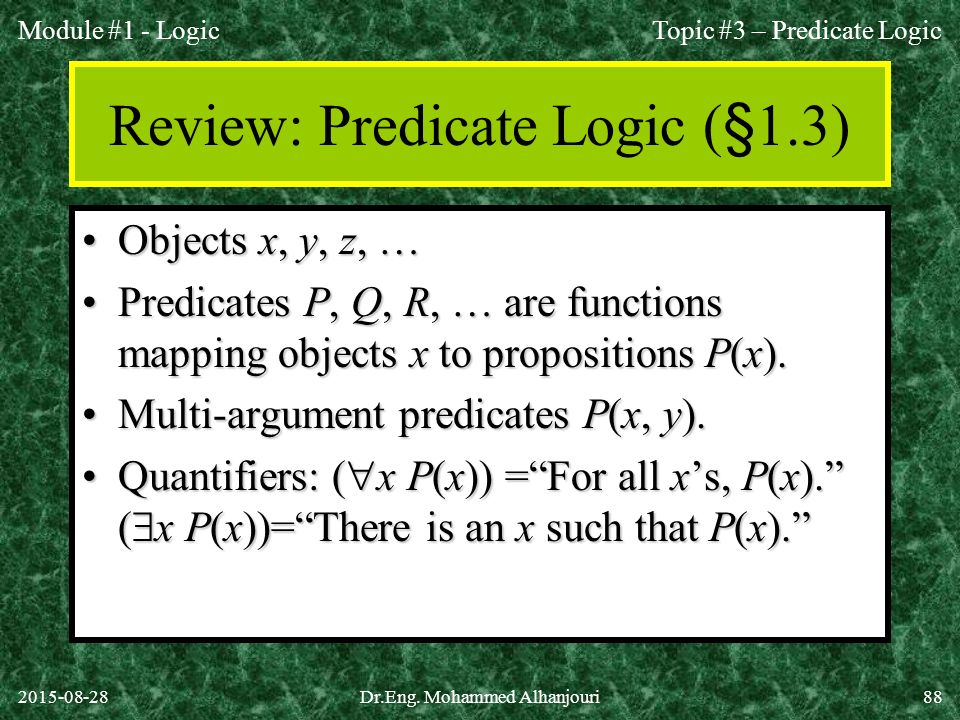 Review: Predicate Logic (§1.3)