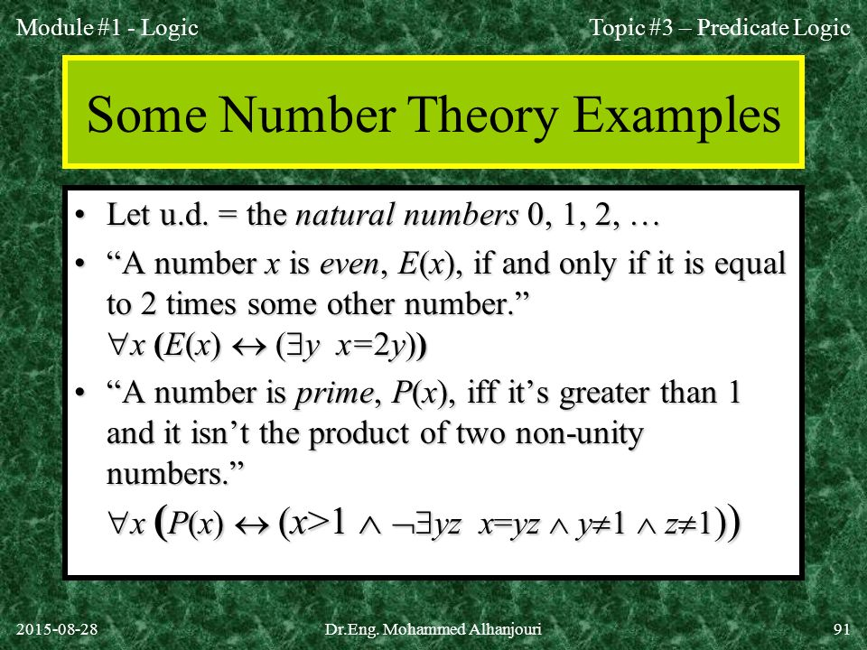 Some Number Theory Examples