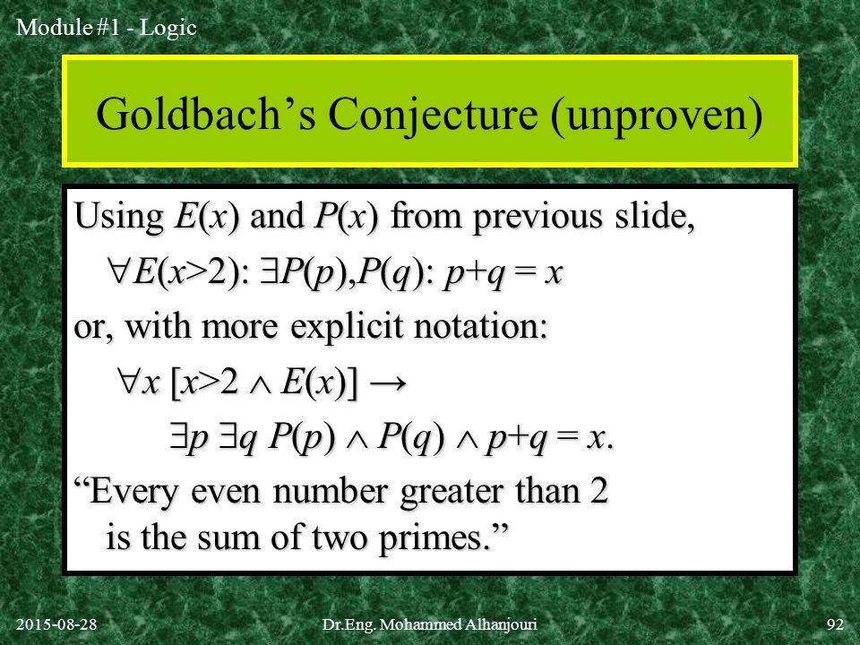 Goldbach's Conjecture (unproven)