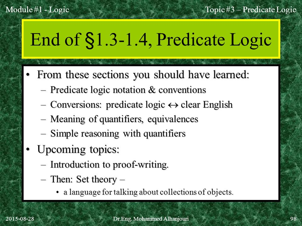 End of § , Predicate Logic