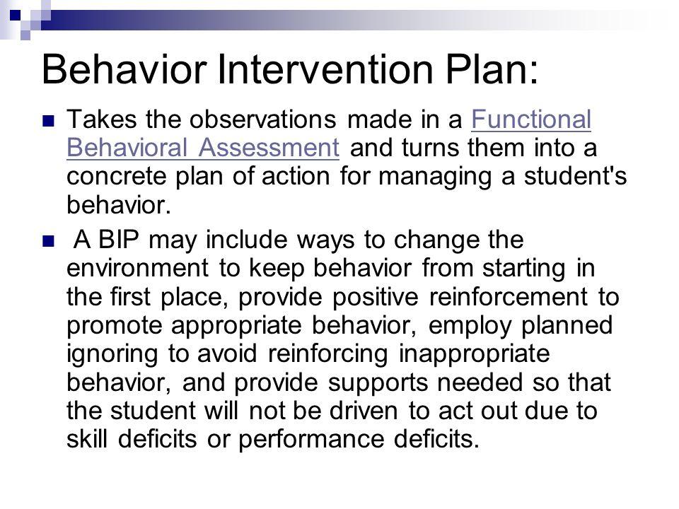 behavior intervention plan sample