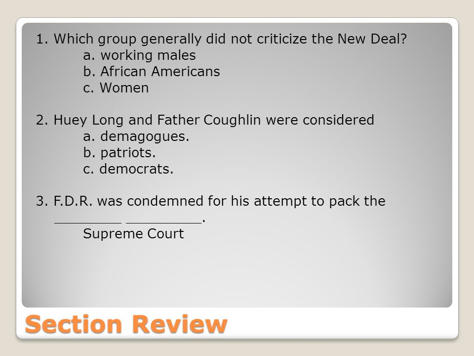 Which group generally did not criticize the New Deal. a
