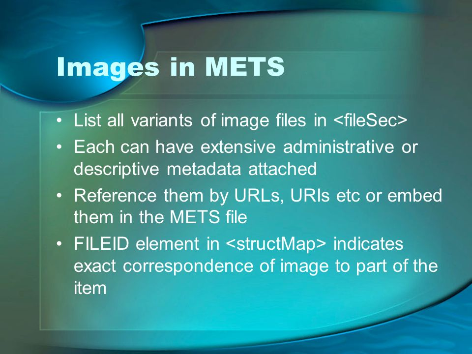 Images in METS List all variants of image files in <fileSec>