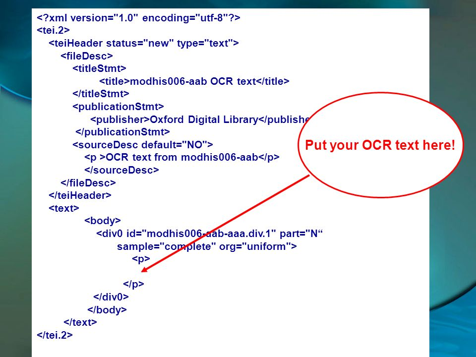 Put your OCR text here! < xml version= 1.0 encoding= utf-8 >