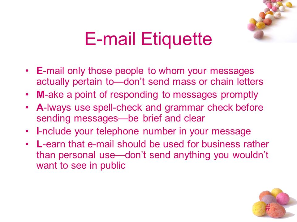Business etiquette presented by mba ppt video online for How to mass mail letters