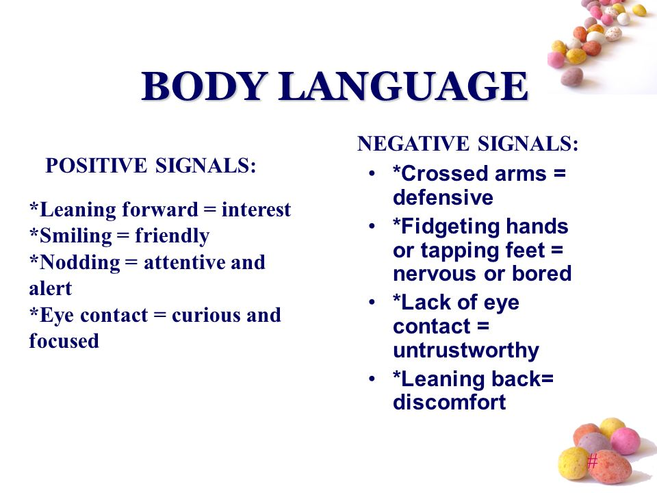 the positive and negative sides of body language Remember that with all body language,  position that will change their attitude from negative to positive  or let them hang dejectedly by their sides.