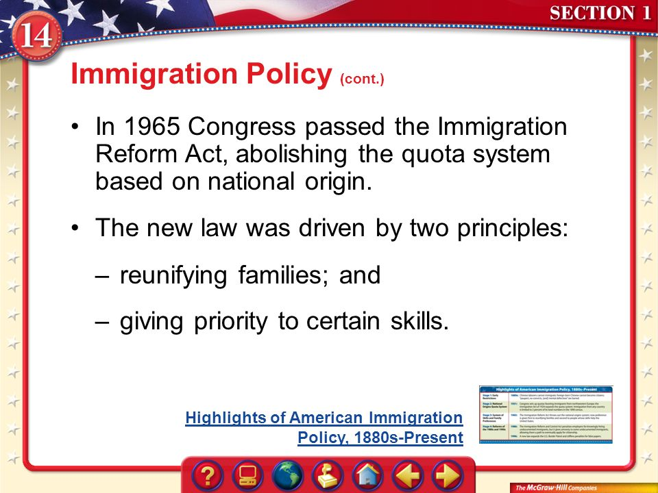 us immigration policy reform the united And immigration policy enhance us national security and foreign policy   employment of immigrants within the united states to ensure that immigrants  make the.