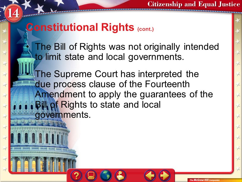 constitutional rights and due process in This is an essay about the due process clause  core procedural meaning of due process of law few constitutional doctrines generate more heat  rights protected by the due process clause.
