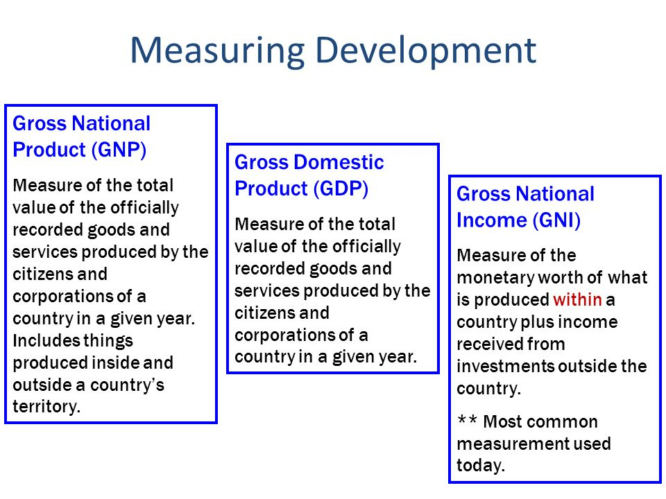 the measure of gross national product in poor countries The broadest and most widely used measure of national income is gross  the gross national product  be done to improve data collection in poor countries.