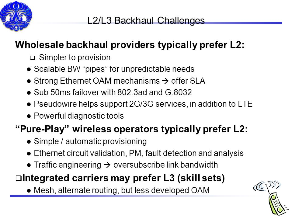 L2/L3 Backhaul Challenges