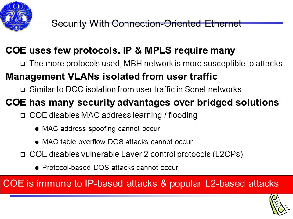 Security With Connection-Oriented Ethernet