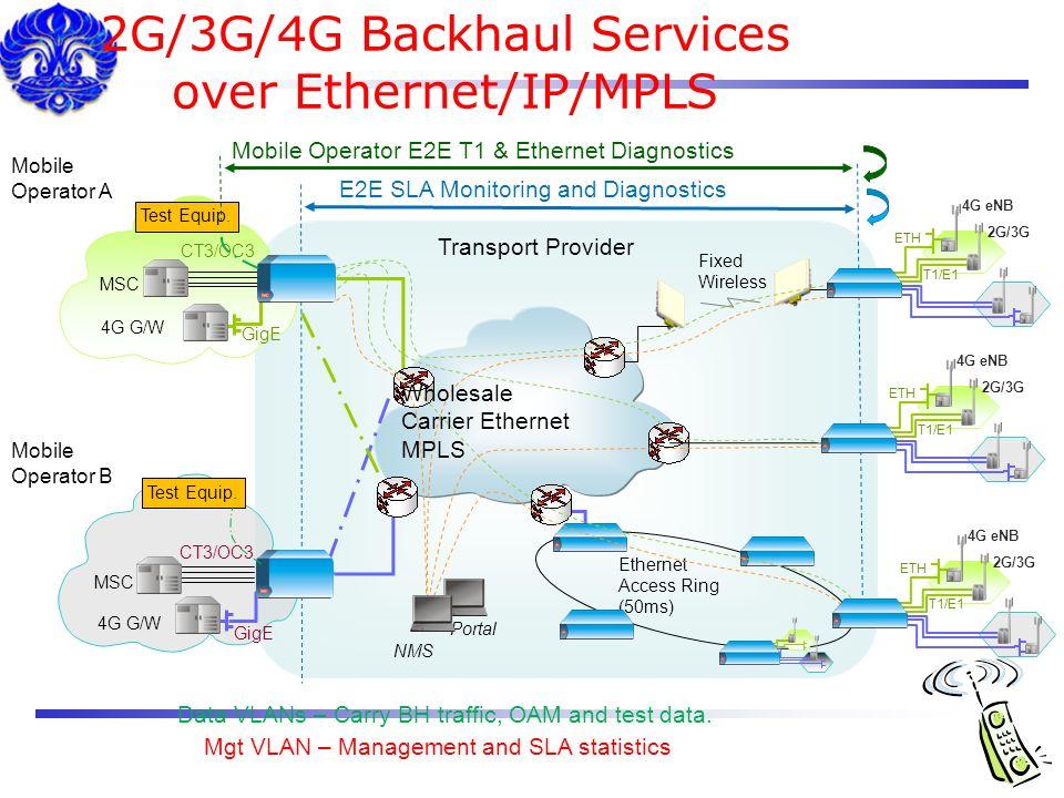 2G/3G/4G Backhaul Services over Ethernet/IP/MPLS
