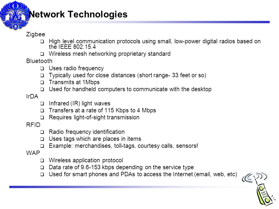 Network Technologies Zigbee Bluetooth IrDA RFID WAP