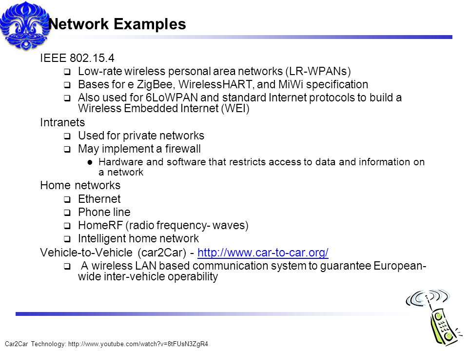 Network Examples IEEE 802.15.4 Intranets Home networks