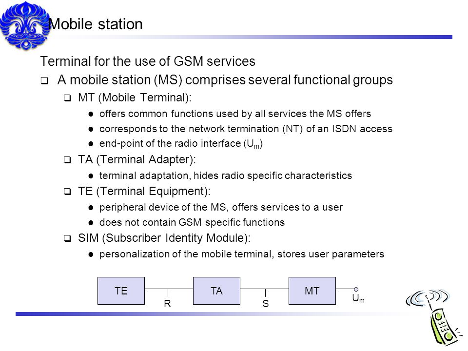 Mobile station Terminal for the use of GSM services