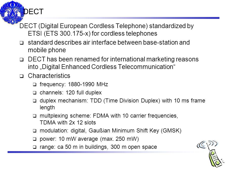 DECT DECT (Digital European Cordless Telephone) standardized by ETSI (ETS 300.175-x) for cordless telephones.