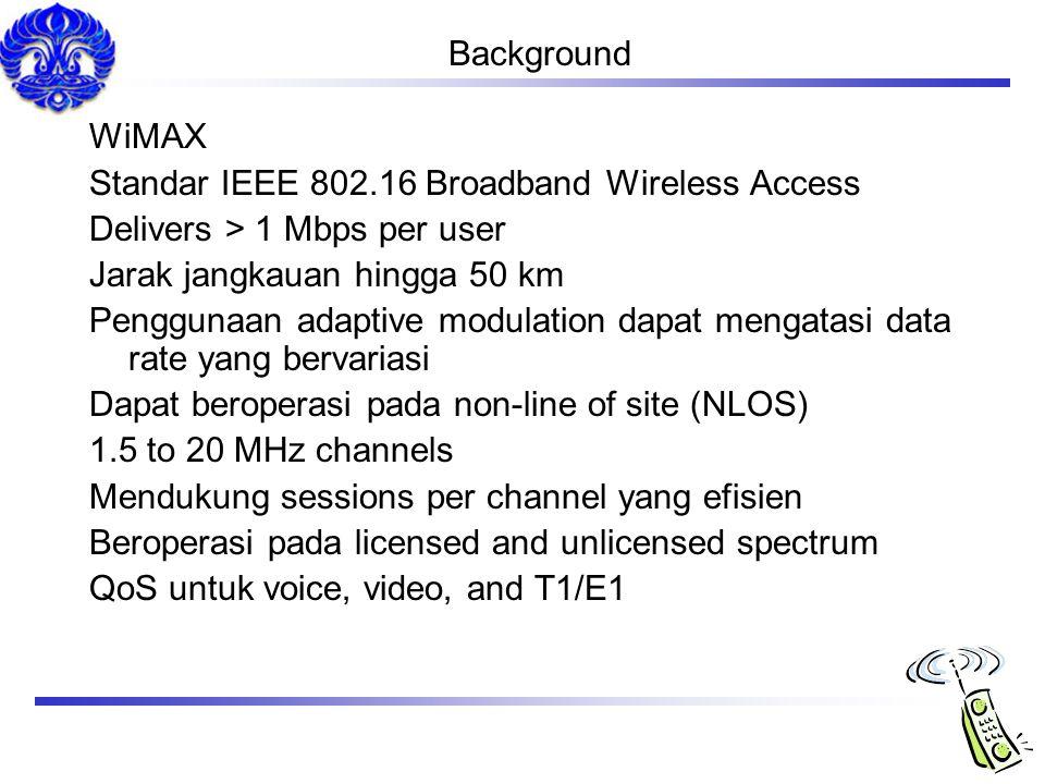 Background WiMAX. Standar IEEE 802.16 Broadband Wireless Access. Delivers > 1 Mbps per user. Jarak jangkauan hingga 50 km.