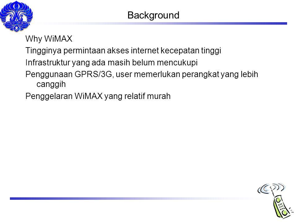 Background Why WiMAX. Tingginya permintaan akses internet kecepatan tinggi. Infrastruktur yang ada masih belum mencukupi.
