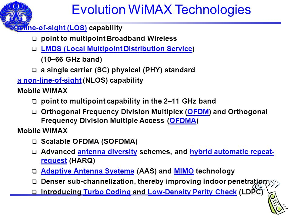Evolution WiMAX Technologies