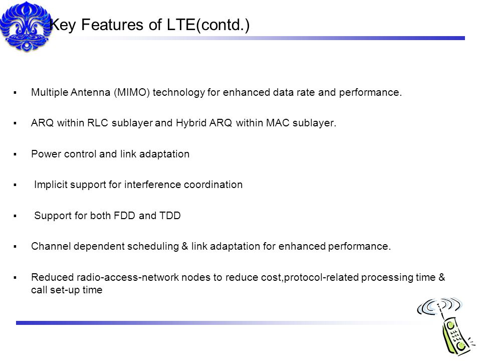 Key Features of LTE(contd.)